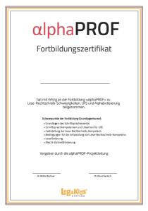 Zertifikat alphaprof