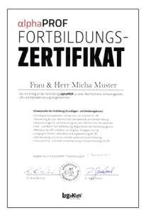 alphaPROF Gesamt-Zertifikat