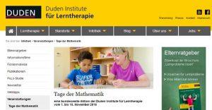 Tage der Mathematik der Duden Institute für Lerntherapie