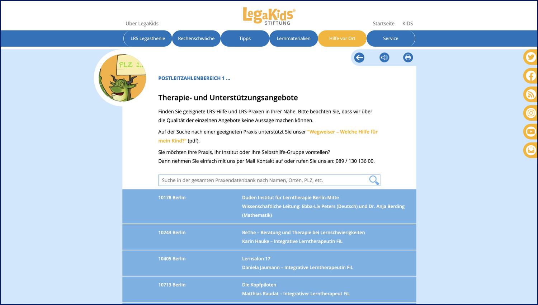 Hilfe vor Ort / LRS Praxenverzeichnis von LegaKids