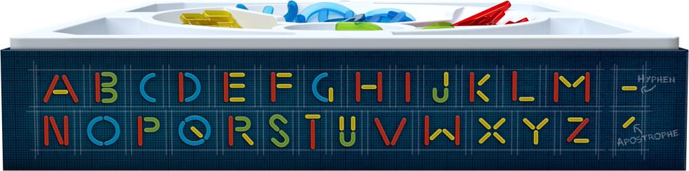 Wordsmith / Seite der Schachtel mit Buchstabenformen